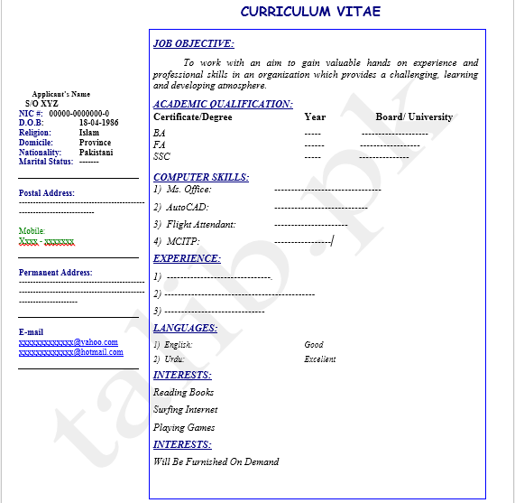 Best Cv Format In Pakistan