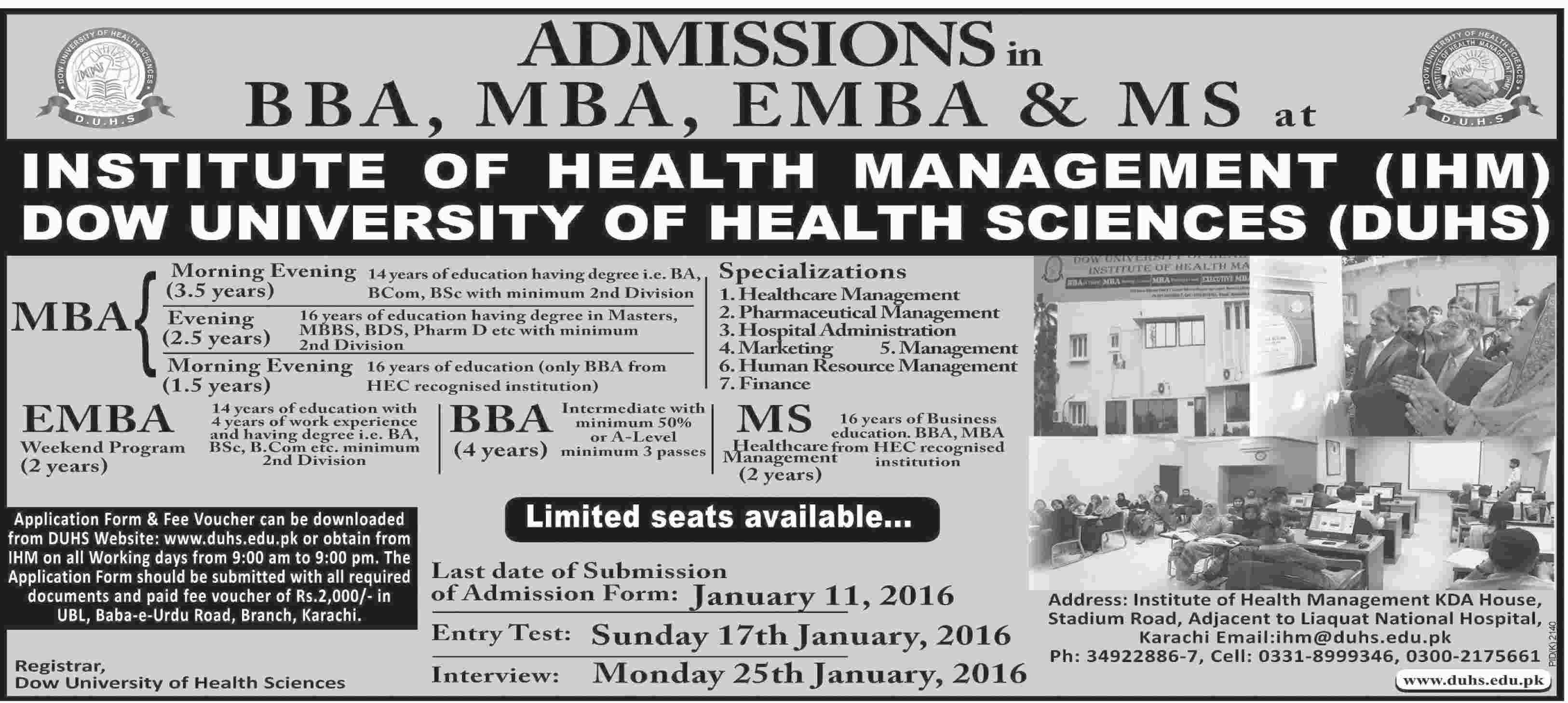 Dow University DUHS BBA, MBA, EMBA Admissions 2016 Form, Last Date