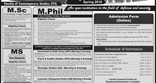 National Defense University NDU Islamabad Spring Admissions 2016 Form