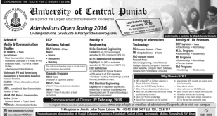 UCP Spring Admission 2016 University Of Central Punjab Form