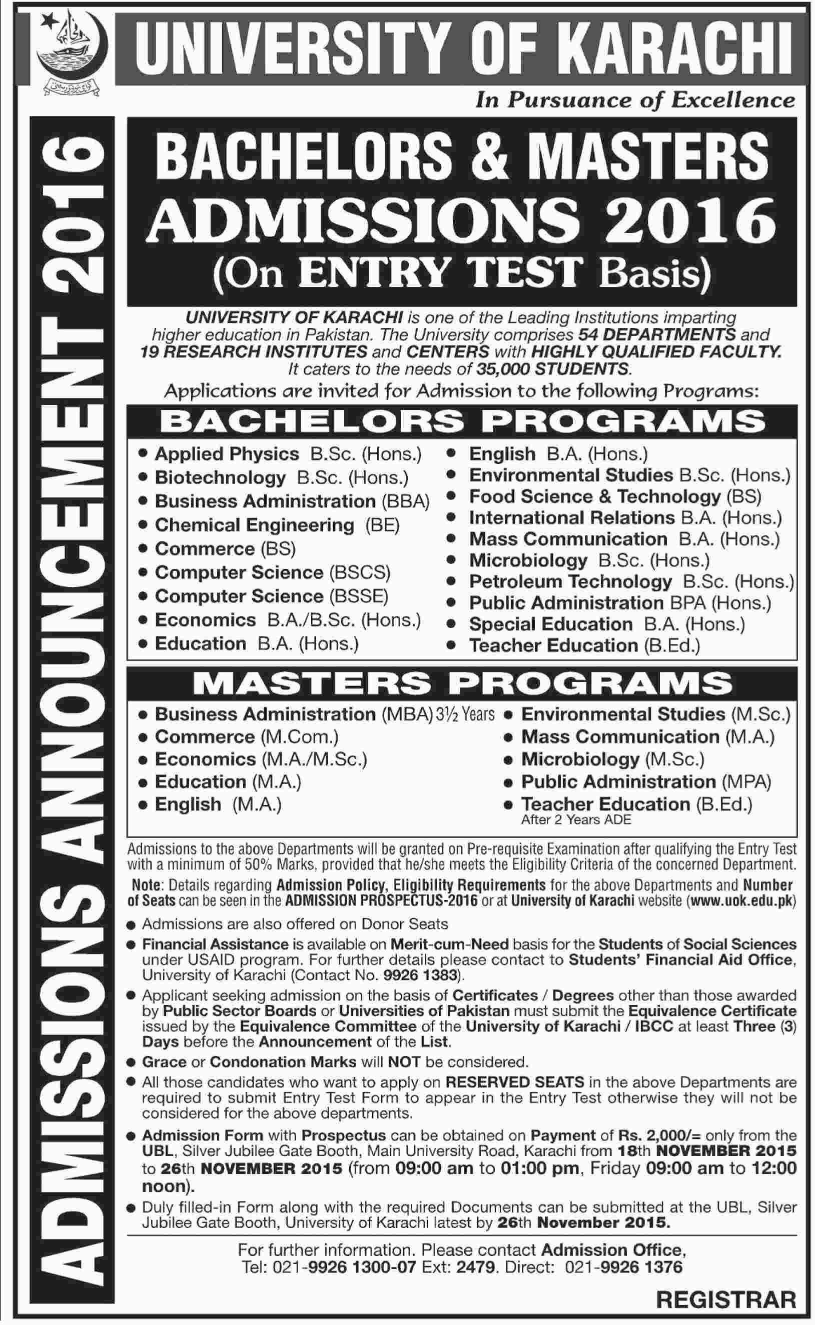 University Of Karachi UOK Bachelor, Masters Morning Admission 2016