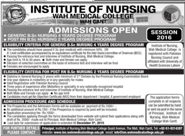 Wah Medical College Bsc Nursing Admission 2016 Application Form, Last Date