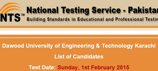 Dawood University DUET NTS Test Result 2015 Answer Keys 1st February