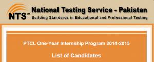 NTS Test PTCL One Year Internship Program 20145-2016 Date, Roll No Slips