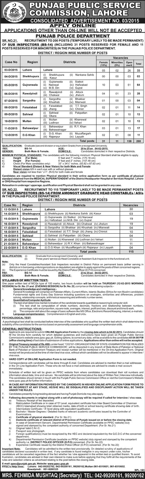 PPSC Sub Inspector Jobs In Punjab Police 2015 Eligibility, Instructions