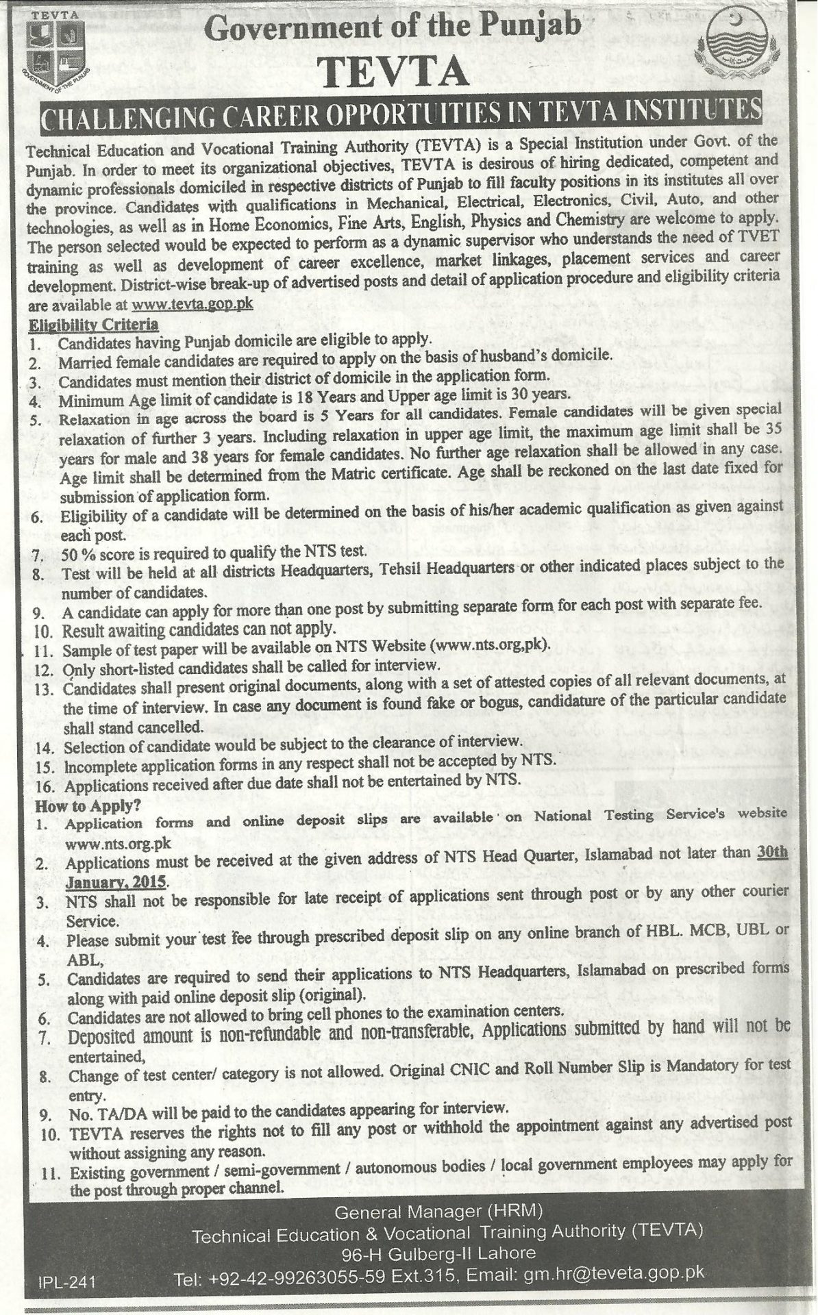 TEVTA Jobs NTS Application Form For Matric, Inter, Graduate, Master Level Positions