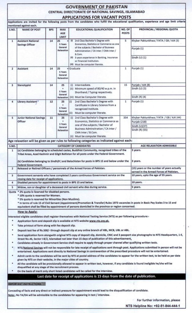 Central Directorate Of National Savings Jobs 2015 Eligibility, Last Date
