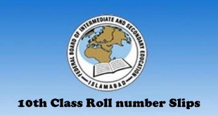 Federal Board FBISE 10th Class Roll No Slip 2015 Download Online