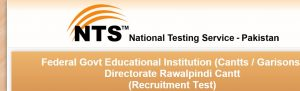 Federal Government Educational Institutions Rawalpindi Jobs 2015 NTS Form,
