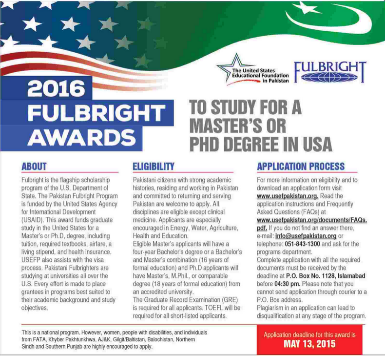 Fulbright Scholarship Pakistan 2015 Application Form, Requirements