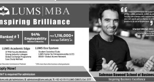 LUMS MBA Admission 2015 Schedule, Procedure