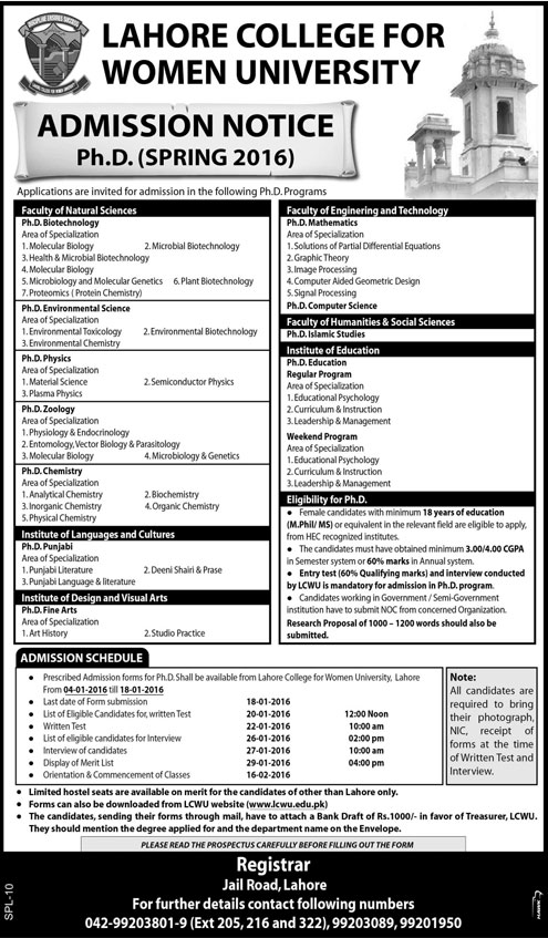 Lahore College For Women University PhD Admissions Spring 2016 Form