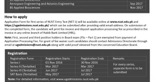 NUST University Undergraduate Admission 2017 Form NET Online Apply