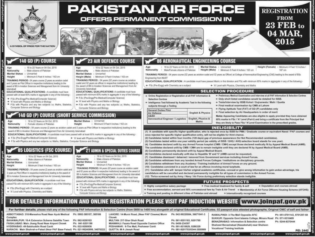 Permanent Commission In Pakistan Air Force PAF 2015 140 GD Online Registration