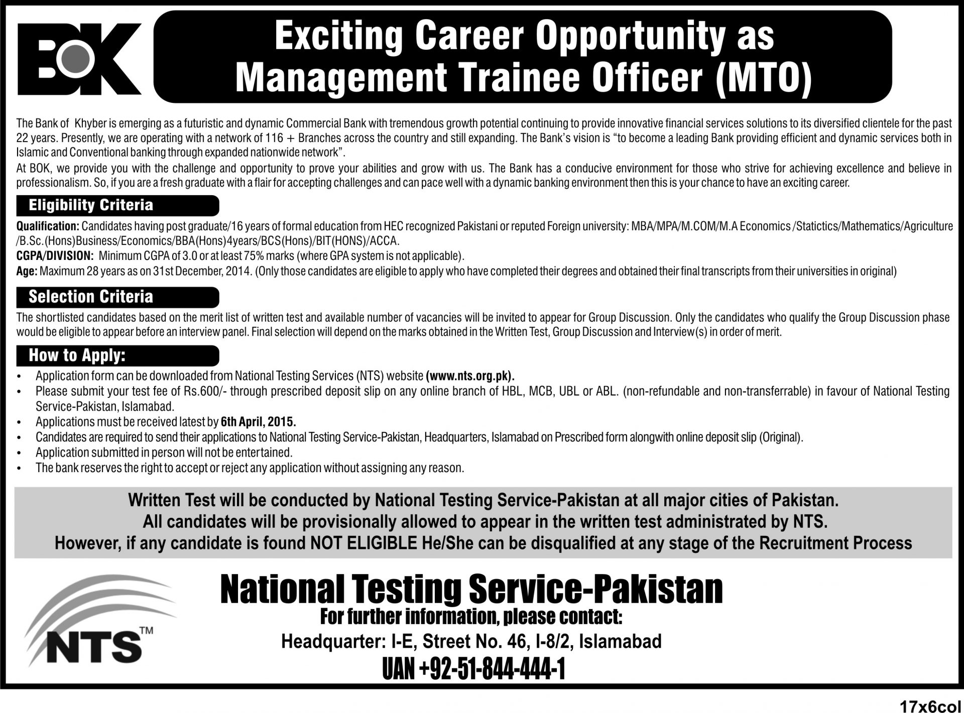 Bank Of Khyber MTO Jobs 2015 NTS Application Form Last Date