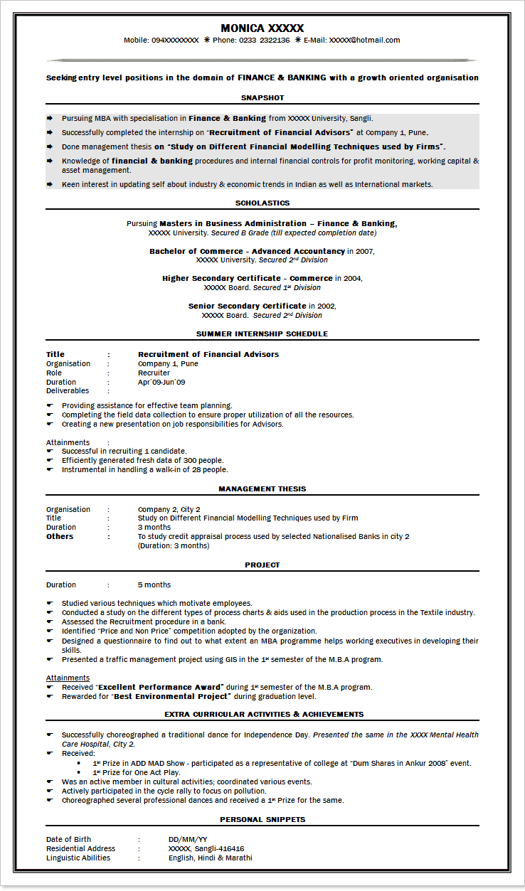 sample resume for bank jobs freshers - Resume Format For Bank Po Fresher