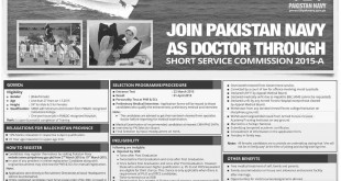 Join Pak Navy As Doctor Through Short Service Commission 2015 A Registration Online
