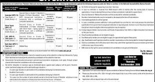 NAB Karachi Jobs 2016 NTS Form Assistant, Steno, LDC, Driver Download