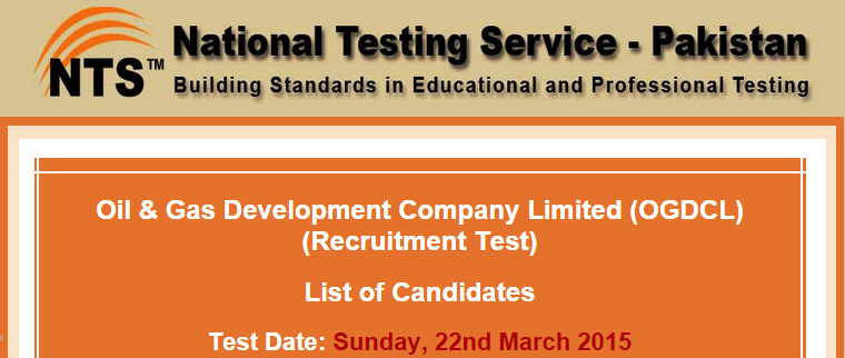 OGDCL NTS Test Result 2015 22nd March Answers Key Jr, Assistant Engineers
