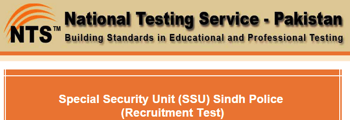 SSU Sindh Police NTS Written Test Date 2015 For Commandos, Constable