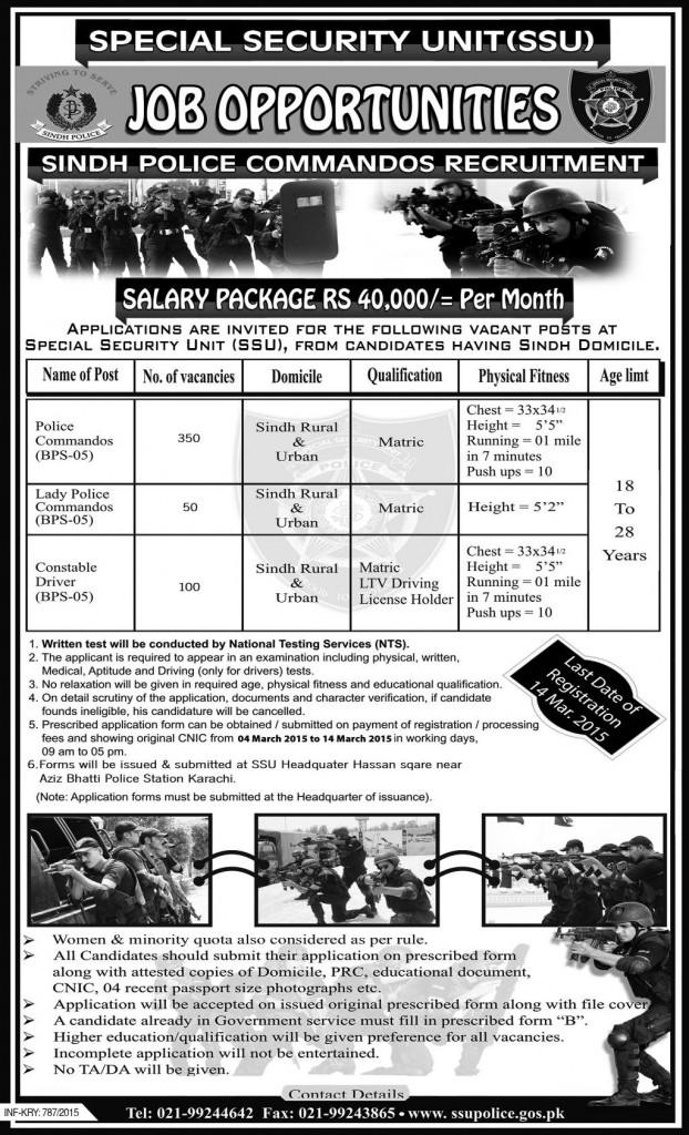 Sindh Police Commando SSU Jobs 2015 NTS Eligibility, Registration Date