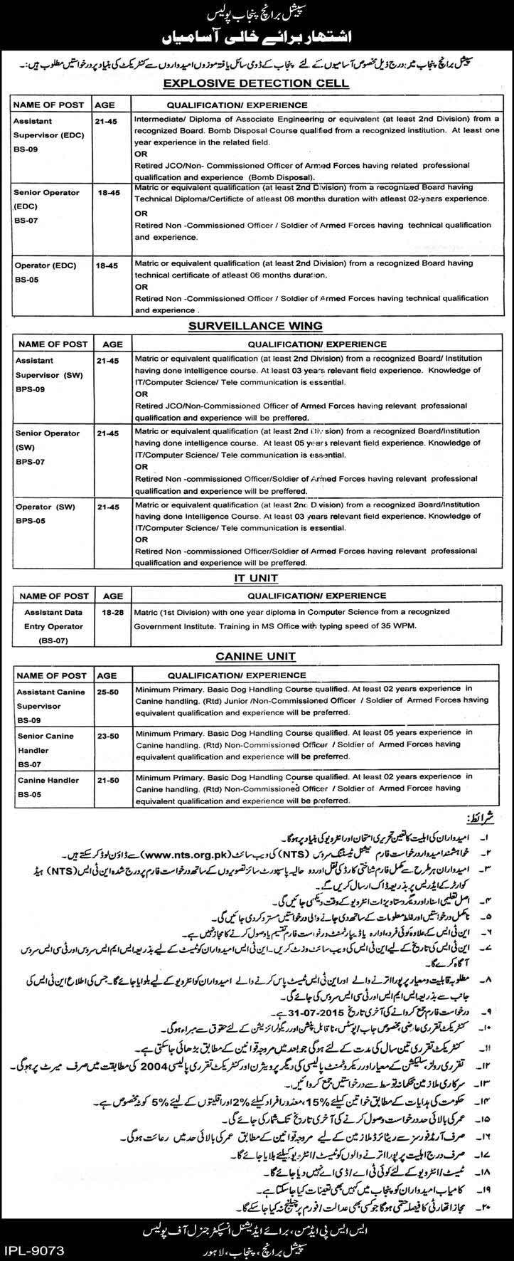 Special Branch Punjab Police Jobs 2015 Form Eligibility Last Date