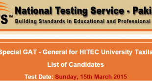 Special GAT General Test Result 2015 HITEC University Taxila 15th March