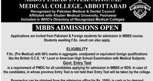 Abbottabad Medical College Admission Schedule Dates 2016