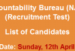 NAB Karachi NTS Test Result 2015 Answer Keys 12th April