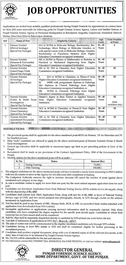 Punjab Forensic Science Agency Jobs 2017 Home Department NTS Form Online