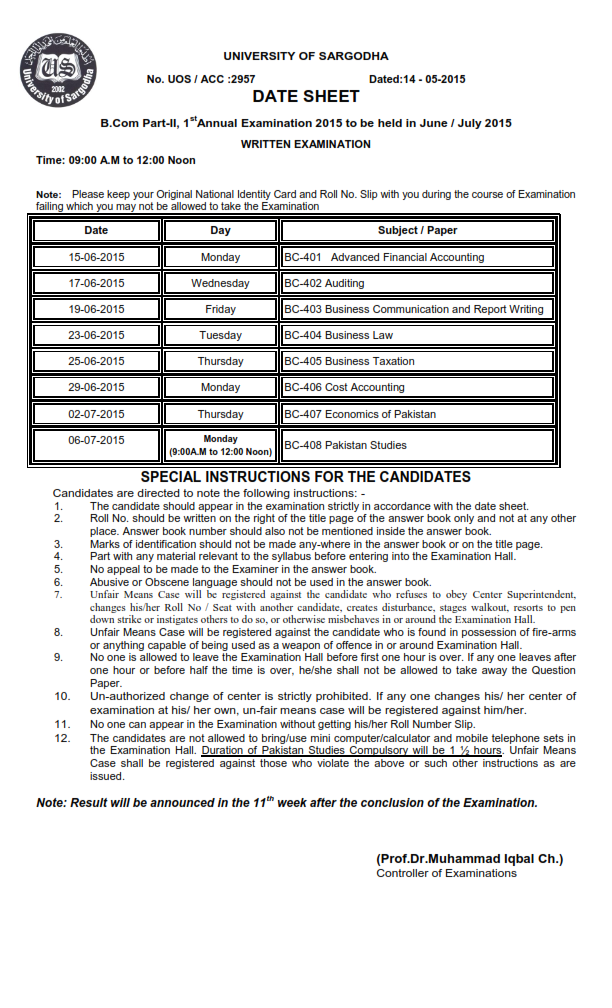 Sargodha University UOS B.Com Part 1 And 2 Date Sheet 2016 1st Annual