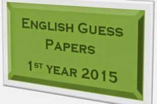 1st Year English Guess Paper 2015 Lahore Board Inter Part 1 FSc