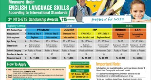 NTS ETS Scholarship Awards 2018 Application Form TOEFL, TOEIC Last Date