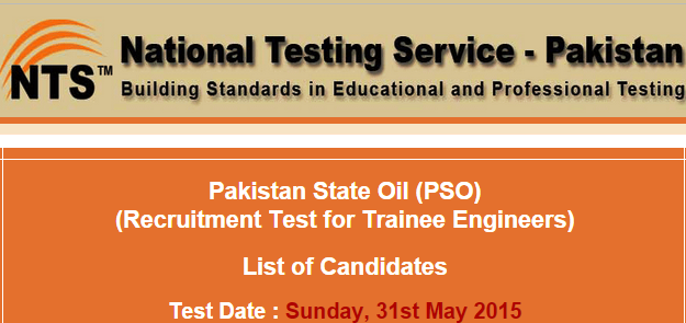 PSO Trainee Engineer NTS Test Result 2015 Pakistan State Oil Check Online