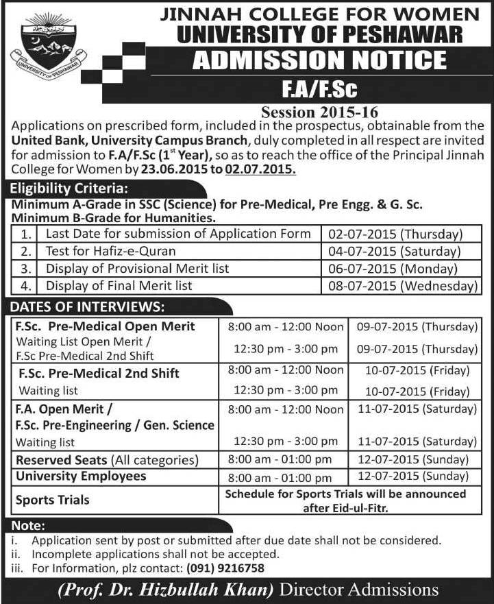 Jinnah College For Women Peshawar FA, FSc Admission 2017 Merit List