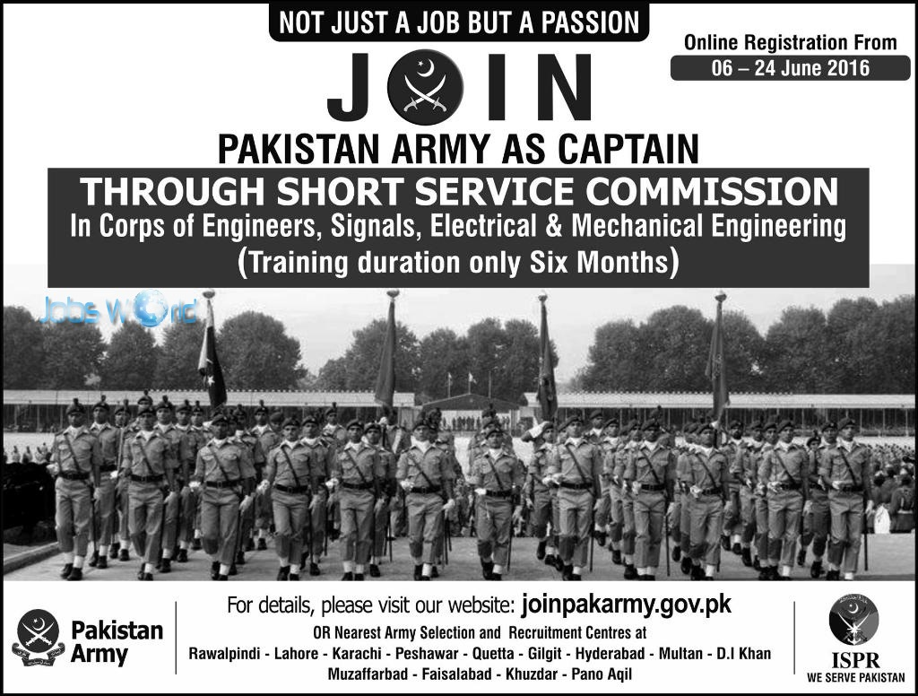 Join Pakistan Army As Captain Through Short Service Commission 2017