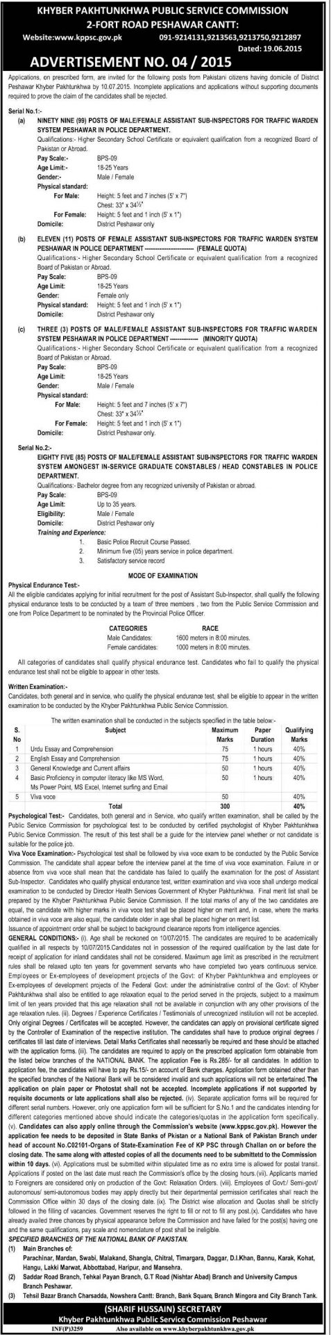 KPPSC ASI Jobs 2015 For Traffic Warden Male, Female Registration Online