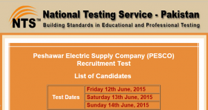 PESCO Peshawar NTS Test Result 2015 12th, 13th, 14th June Online