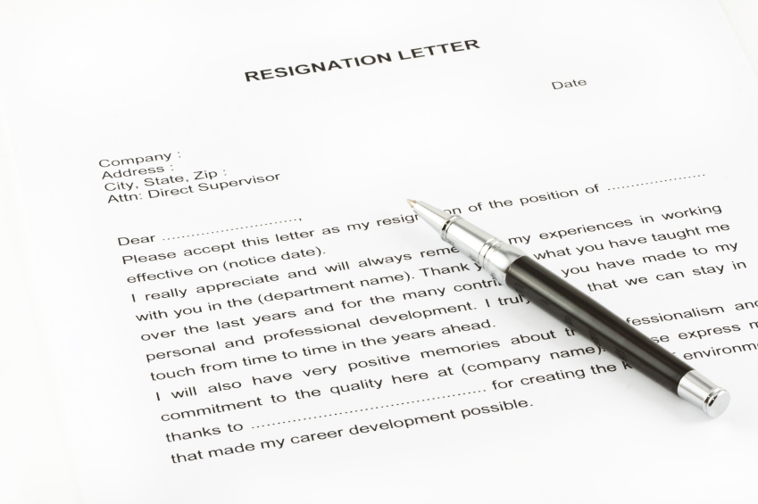sample company resignation letter