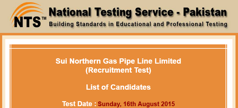 SNGPL NTS Test Result 2015 Sui Northern Gas Pipelines NTS Answer Keys