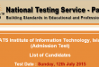 COMSATS Islamabad NTS GAT Subject Test Result 2015 12th July