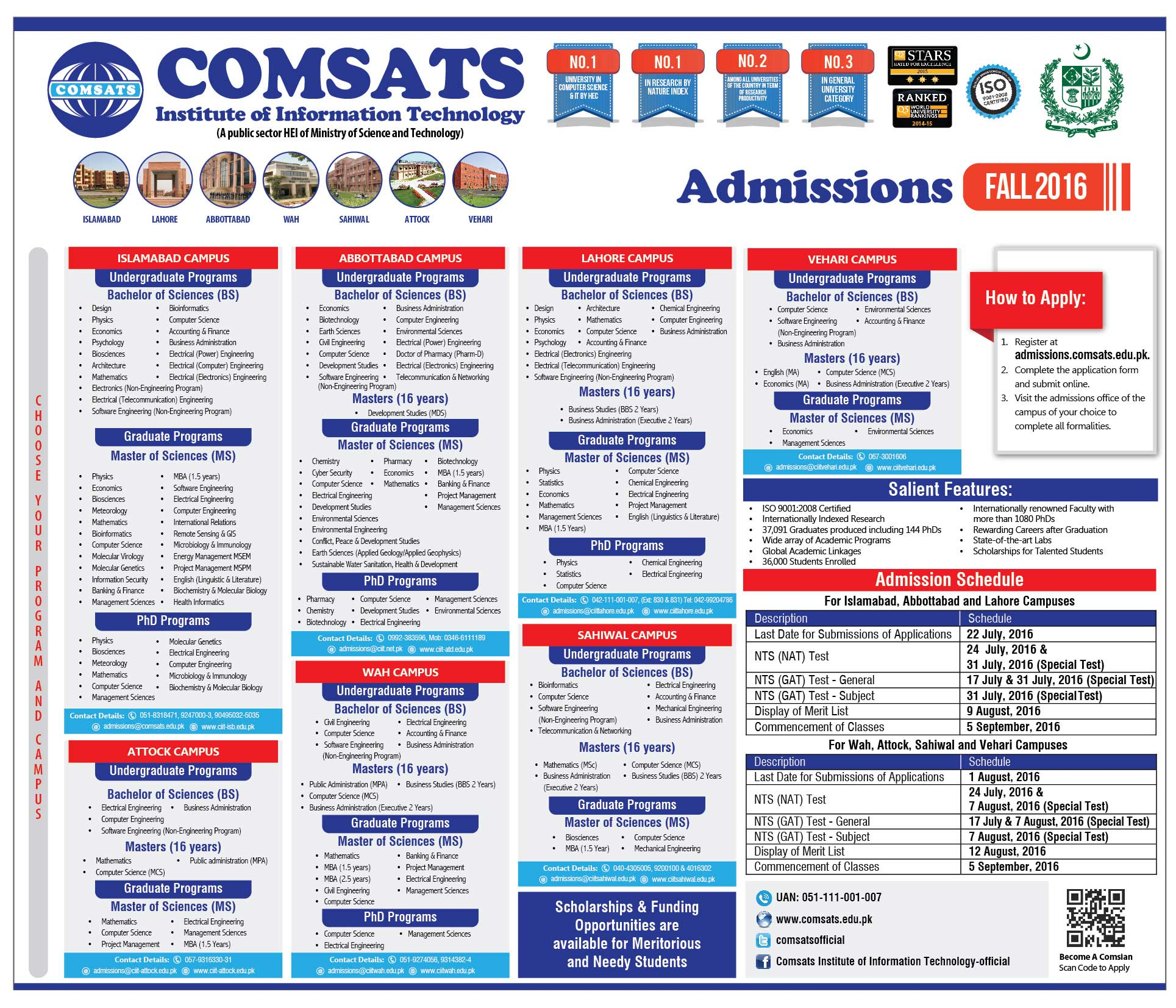 COMSATS Lahore Admission Fall 2016 Form Download Last Date