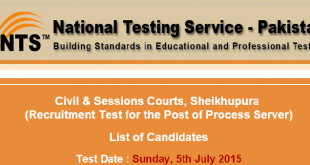Civil And Sessions Courts Sheikhupura NTS Test Result 2015 Process Server 5th July
