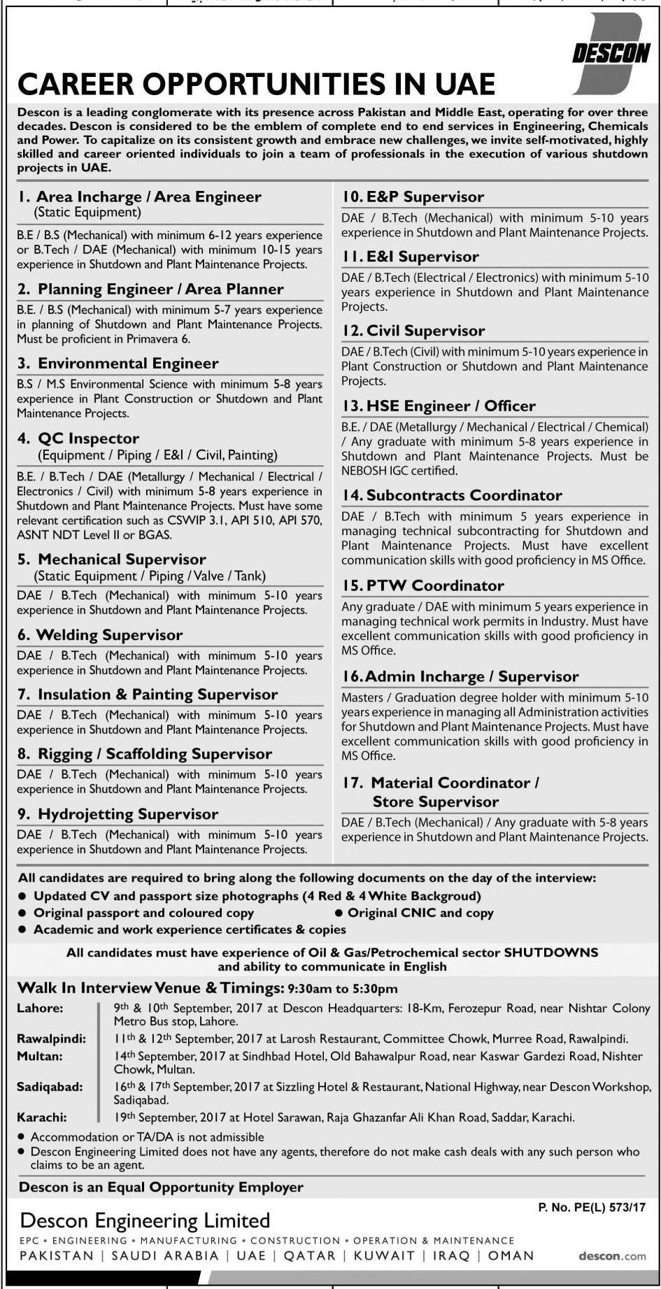 DESCON Jobs In Lahore 2017 Last Date, Eligibility, Administrator, Supervisor, Officer