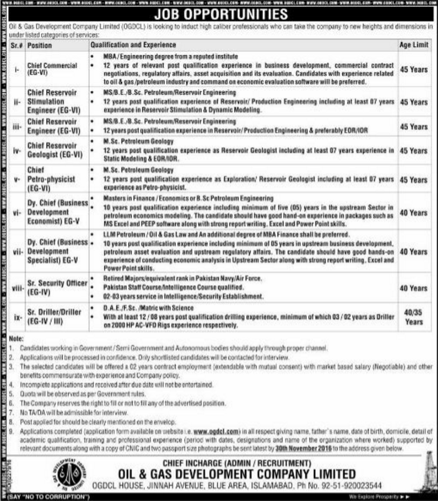 OGDCL Jobs 2015 Oil & Gas Development Company Online Form, Eligibility, Last Date
