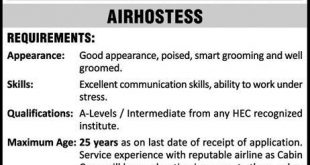 PIA Karachi Jobs 2016 Airhostess And Flight Steward Form Procedure