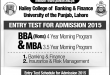 PU Hailey College Of Banking And Finance Entry Test Date 2015 BBA, MBA