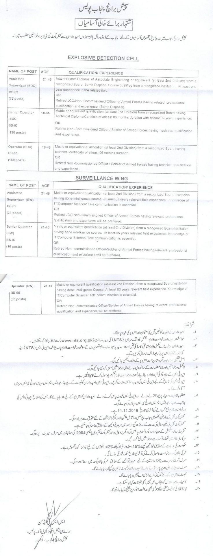 Special Branch Punjab Police Jobs 2016 NTS Form Eligibility Last Date