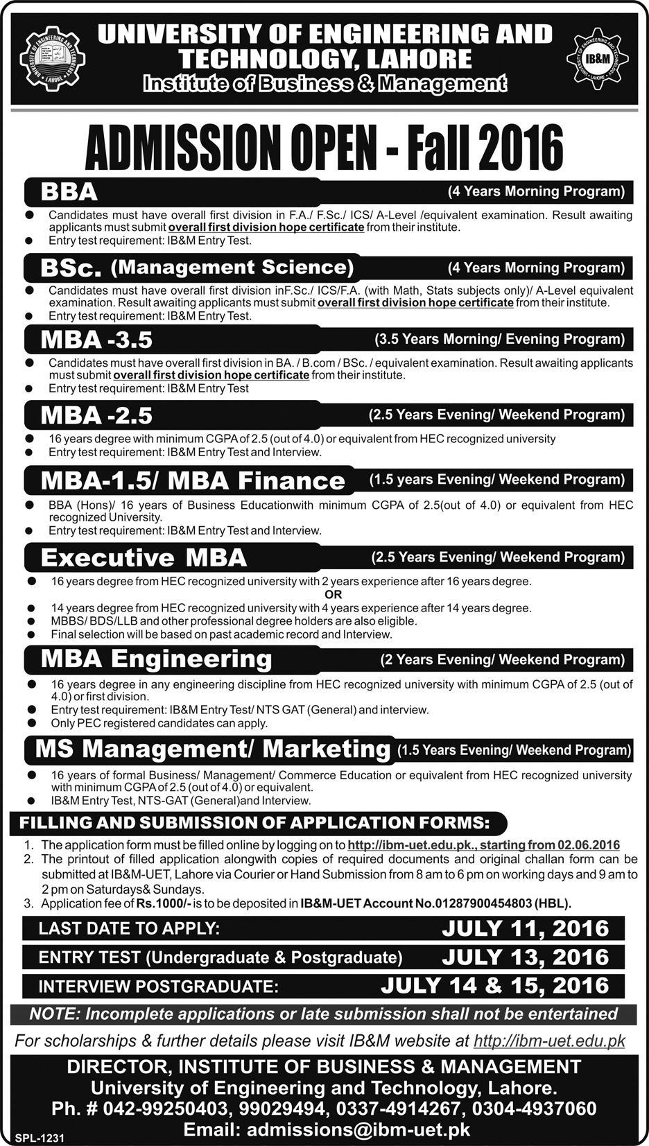 UET Lahore Admission 2016 Fall Entry Test Schedule, Online Form, Eligibility