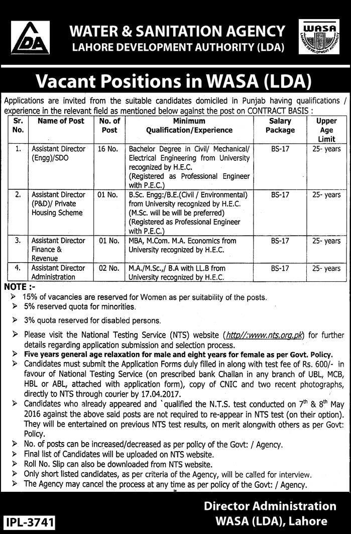WASA LDA Jobs 2017 Assistant Director Application Form, NTS Test Date